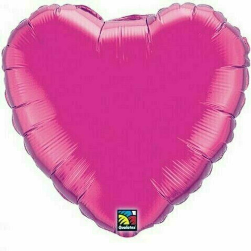 Herzballon, pink/magenta (unifarben)