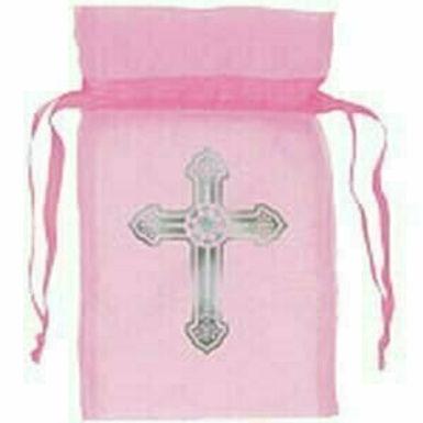 Organza-Täschchen mit Kreuz, rosa, 12er Pack