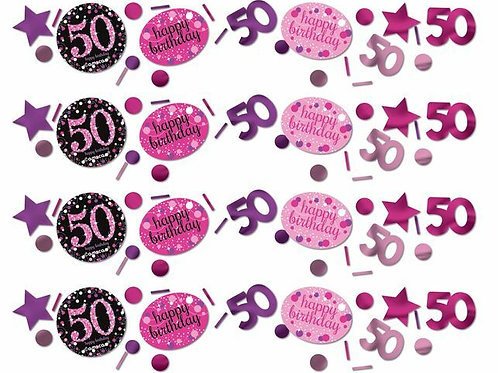 Tischkonfetti zum 50. Geburtstag in pink/schwarz