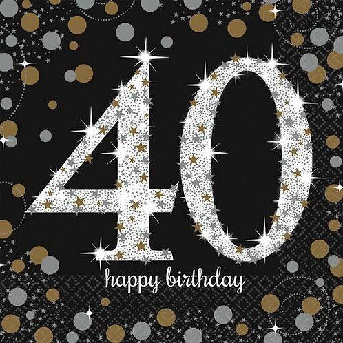 """Servietten  """"Happy Birthday 40"""" in gold/silber/schwarz"""