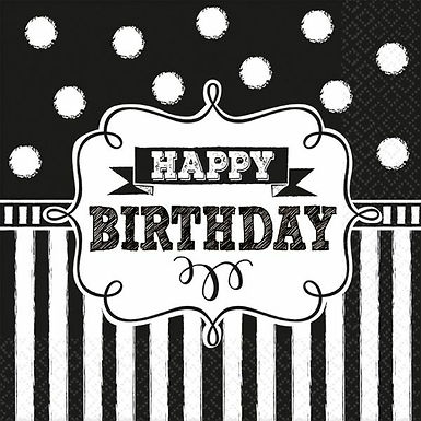 """Servietten """"Happy Birthday"""" in schwarz/weiß"""