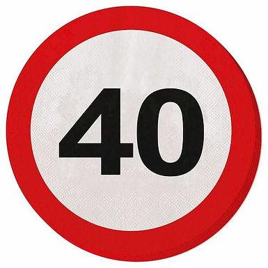 """Servietten Verkehrsschild """"40"""""""