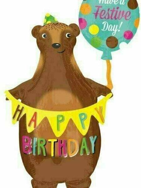 XXL-Ballon Happy Birthday Tanzbär