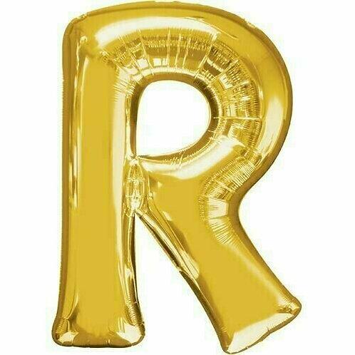 """Kleiner Buchstabe """"R"""" - gold, zum selbst aufblasen (Luft)"""