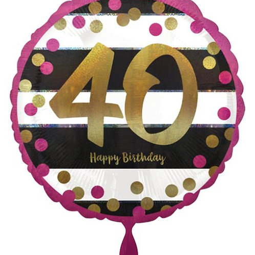 "Folienballon ""Happy Birthday 40"", gold/schwarz/pink"