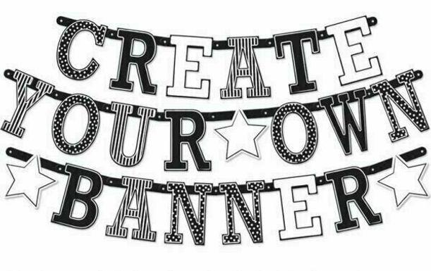"""Girlande """"Create your own banner"""" - schwarz/weiß"""