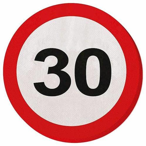 """Servietten Verkehrsschild """"30"""""""