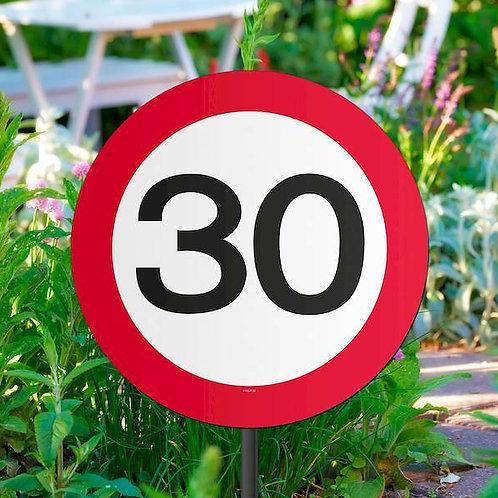 """Gartenstecker Verkehrsschild """"30"""""""