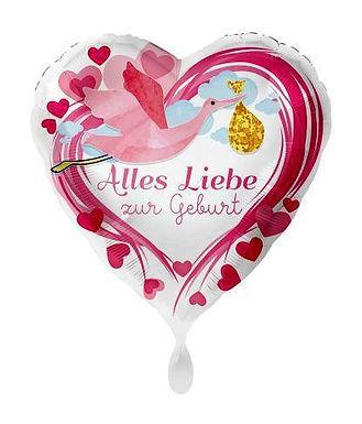 Folienballon Alles Liebe zur Geburt rosa