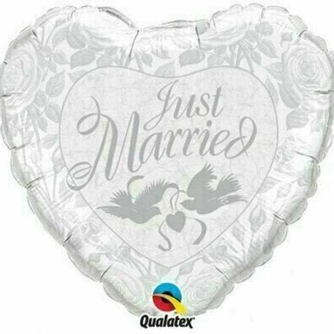 Herz - Just married mit Tauben (silber)