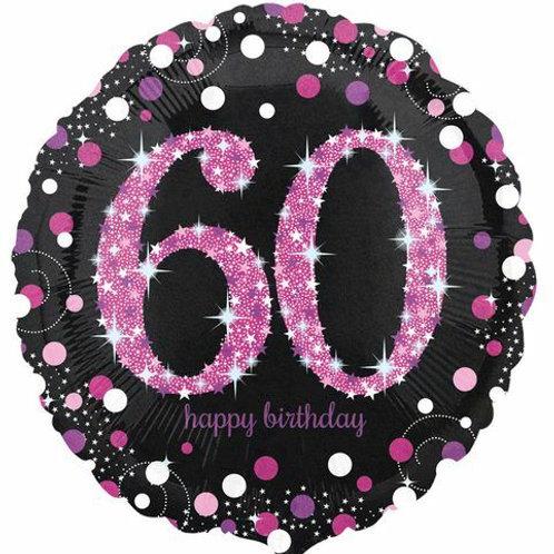 "Folienballon Birthday ""60"" glitzernd pink/schwarz"