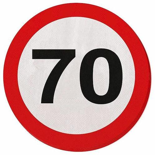 """Servietten Verkehrsschild """"70"""""""