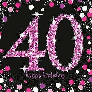 """Servietten  """"Happy Birthday 40"""" in pink/schwarz"""
