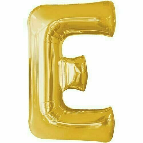 """Kleiner Buchstabe """"E"""" - gold, zum selbst aufblasen (Luft)"""