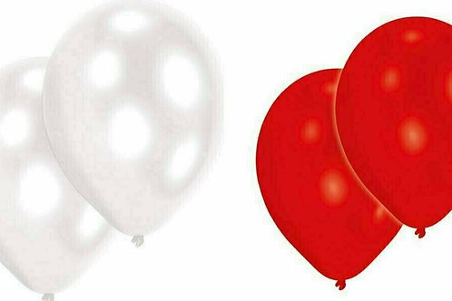 20 Latex-Ballons, Standardfarbe: rot/weiß