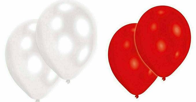 20 Latex-Ballons, Standardfarbe: rot/weiß