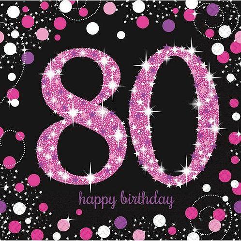 """Servietten  """"Happy Birthday 80"""" in pink/schwarz"""