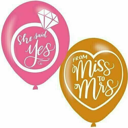 6 Stück Latex-Ballons: She said yes / From Miss to Mrs