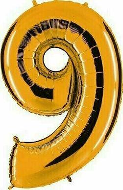 """Kleine Zahl """"9"""" - gold, zum selbst aufblasen (Luft)"""