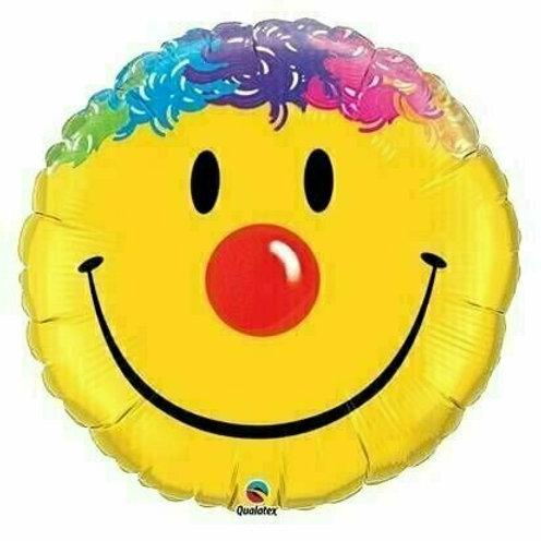 Smiley mit bunten Haaren (groß)
