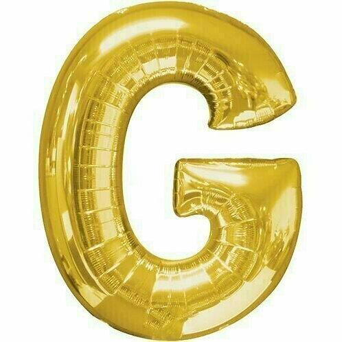 """Kleiner Buchstabe """"G"""" - gold, zum selbst aufblasen (Luft)"""