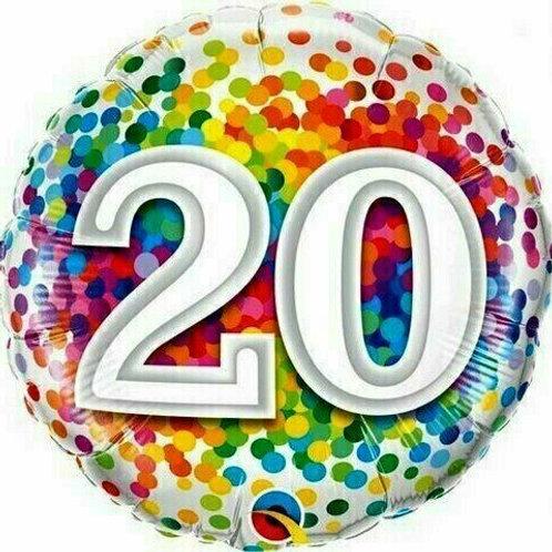 """Birthday """"20"""" Regenbogen-Punkte"""