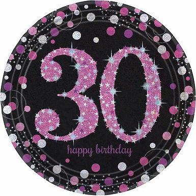 """Teller """"Happy Birthday 30"""" in pink/schwarz"""