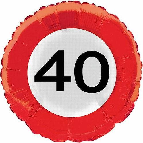 """Folienballon: Verkehrsschild """"40"""""""
