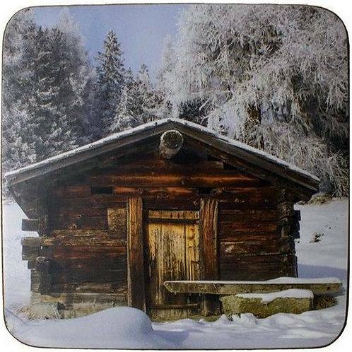 """Untersetzer """"Berghütte im Winter"""", 6er Set"""