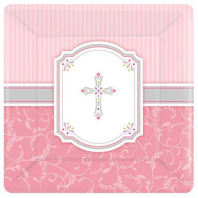 Teller: elegant mit Kreuz, rosa
