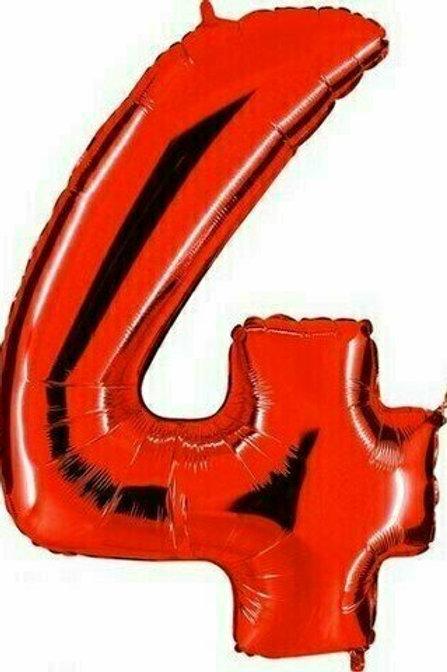 """Riesenzahl """"4"""" - rot"""