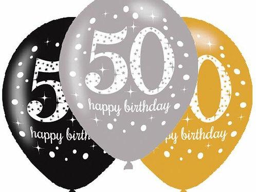 "Latexballons ""Happy Birthday 50"" in gold/silber/schwarz"