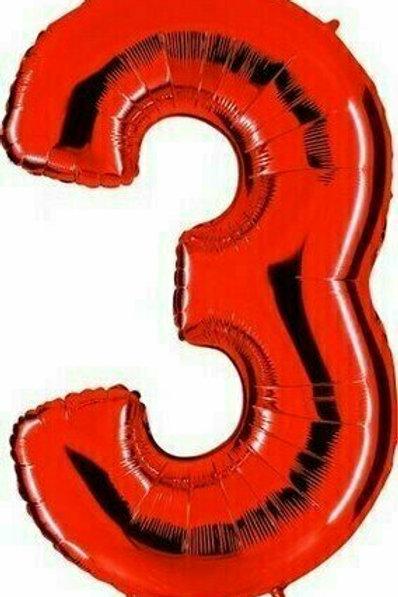 """Riesenzahl """"3"""" - rot"""