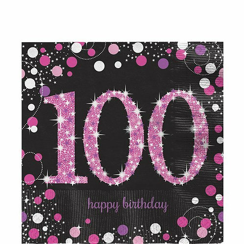 "Servietten  ""Happy Birthday 100"" in pink/schwarz"