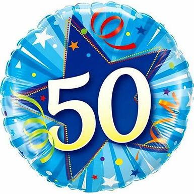 "Folienballon ""50"" in blau"