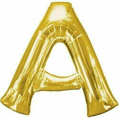 """Kleiner Buchstabe """"A"""" - gold, zum selbst aufblasen (Luft)"""