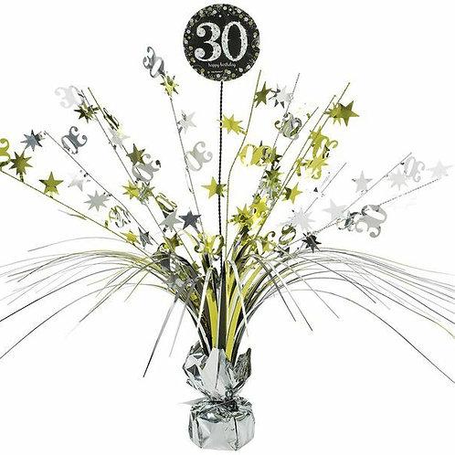Centerpiece/Tischdeko zum 30. Geburtstag in gold/silber/schwarz
