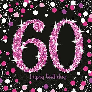 """Servietten  """"Happy Birthday 60"""" in pink/schwarz"""