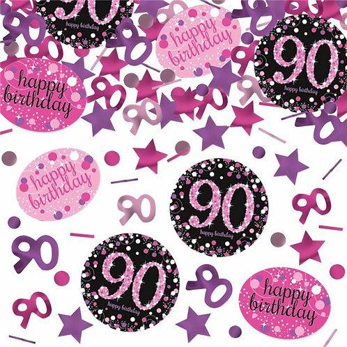 Tischkonfetti zum 90. Geburtstag in pink/schwarz