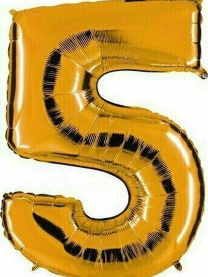 """Kleine Zahl """"5"""" - gold, zum selbst aufblasen (Luft)"""