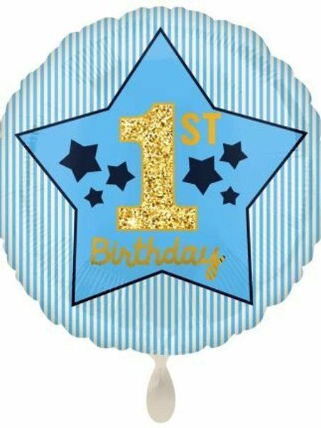 Folienballon Erster Geburtstag blau gold