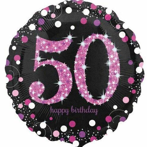 "Folienballon ""Happy Birthday 50"" glitzernd pink/schwarz"