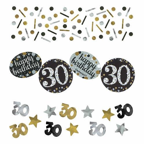 Tischkonfetti zum 30. Geburtstag in gold/silber/schwarz