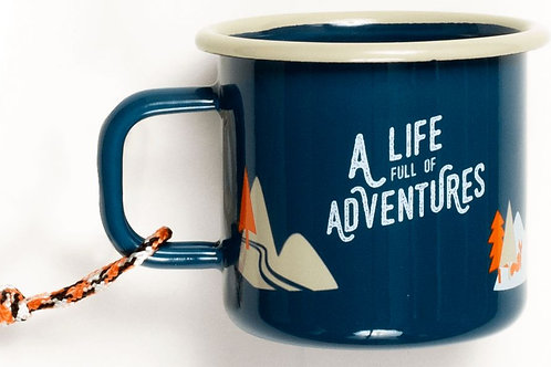 "Emaille Becher ""A life full of adventures"""