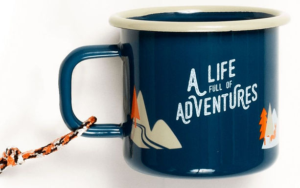 """Emaille Becher """"A life full of adventures"""""""