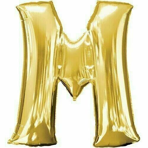"""Kleiner Buchstabe """"M"""" - gold, zum selbst aufblasen (Luft)"""
