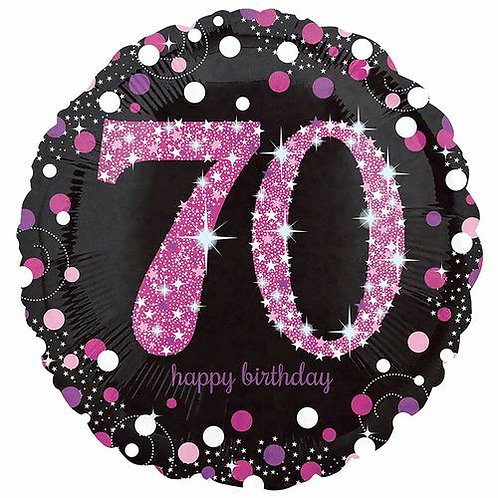 "Folienballon Birthday ""70"" glitzernd pink/schwarz"