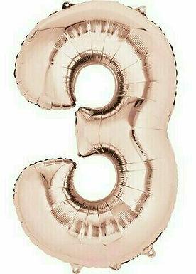 """Kleine Zahl """"3"""" - roségold, zum selbst aufblasen (Luft)"""