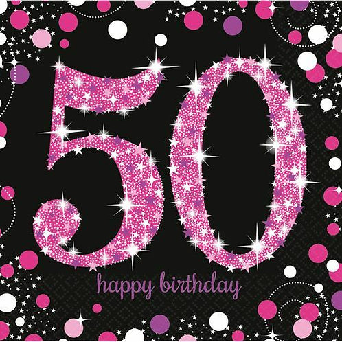 """Servietten  """"Happy Birthday 50"""" in pink/schwarz"""