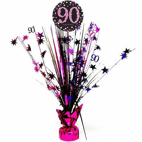 Centerpiece/Tischdeko zum 90. Geburtstag in pink/schwarz